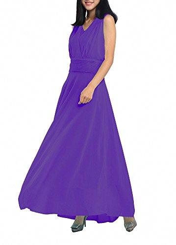 para mangas Vestido Afibi noche de mujer de largo morado largo sin fwTRqS