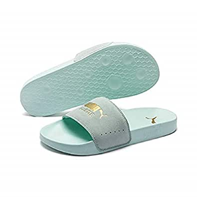 PUMA Adult's LEADCAT SUEDE Fashion Sandals, Fair Aqua-puma Team Gold