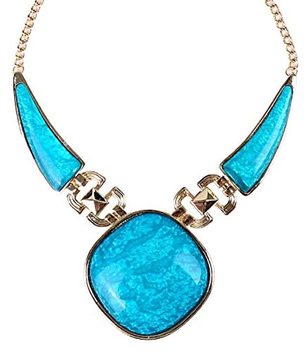 HONEYJOY Women Triangle Joined Pod Pepper Acrylic Resin Necklace - blue (Starfish Adult Costume)