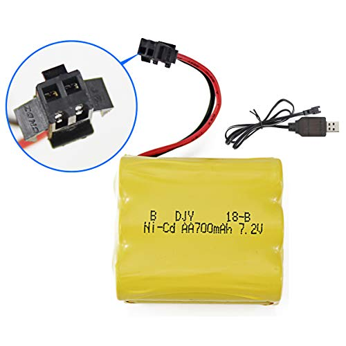 Fistone Rechargeable 7.2V 700mAh Ni-Cd Battery Pack for Remote Control Motorcycle Buggy Stunt Racing Drift Vehicle and RC Truck Crawler Tower Crane with Charging Cable SM 2P Plug ()