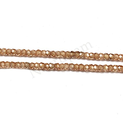 Champagne Color Cubic Zirconia Stone - Neerupam Collection Champagne Color Cubic Zirconia Gemstone Faceted Roundelle 2 Line Loose 14 inch Strand