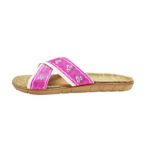 Sweat Hrfeer Home Shoes Silent Women For Linen Indoor 15 Men rred Slipper cb Summer Sandals Slippers 4ggqIr