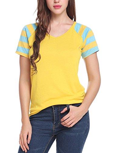 (ELESOL Women Plain Raglan Shirt Short Sleeve Striped Baseball Jersey Yellow L)