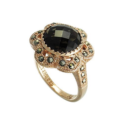 - Aura 925 Sterling Silver Ring Smoky Quartz, Marcasite With Rose Gold Plated #7