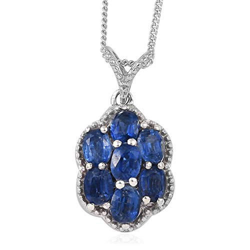 (925 Sterling Silver Platinum Plated Oval Kyanite Pendant Necklace for Women 20