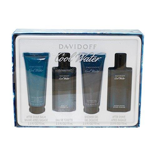 Zino Davidoff Cool Water 4 Piece Gift Set (Eau De Toilette Spray 2.5 Oz & Aftershave Balm 2.5 Oz & Shower Gel 2.5 Oz) for Men, 2.5 fl. Oz. COTY132