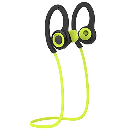 Bluetooth Headphone Sport, Fitness Headset Water-proof Wireless 4.1 Noise Isolation Stereo Headphones, Secure Fit for Sports Built-in Mic Hands Free with Portable Zipper Case
