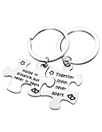 SEIRAA Couples Puzzle Keychain Set of 2 Together Forever Never Apart Long Distance Relationship Gift Couple Jewelry