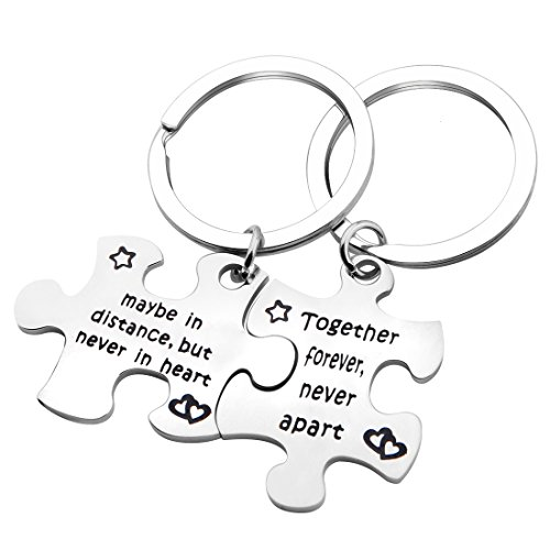 SEIRAA Couples Puzzle Keychain Set of 2 Together Forever Never Apart Long Distance Relationship Gift Couple Jewelry (Together Forever puzzle - Forever Rings Together