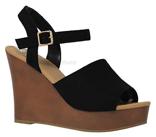 - MVE Shoes Women's Stylish Comfortable Platformed Adjustable Ankle Strap Open Toe Cut Out Design Heel, Supply Black ISU 8.5