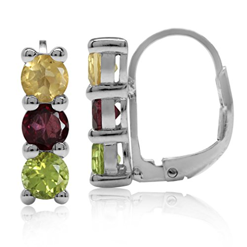 (4MM Citrine, Rhodolite Garnet & Peridot White Gold Plated 925 Sterling Silver Leverback Earrings)