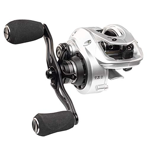 (Enigma Fishing Baitcasting Reel High Speed, Low Profile, with Carbon Fiber Drag | Adjustable Magnetic Brakes | Your Choice of Gear Ratio | E-CAST EC-100 Silver - Right Handed)