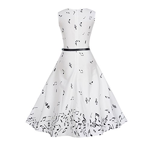 Danie & Holmy Womens Retro Music Notes Print Sleeveless Vintage Swing Dress at Amazon Womens Clothing store: