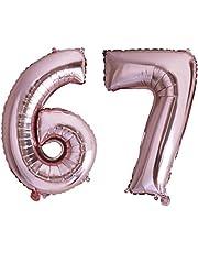Desconocido Globo Numero del o al 99 Globos Foil Numeros Silver Rosegold glod Gradient Fiestas cumpleaños decoración Fiesta Aniversario Boda tamaño Grande 70 cm con Accesorio para inflar Aire o Helio