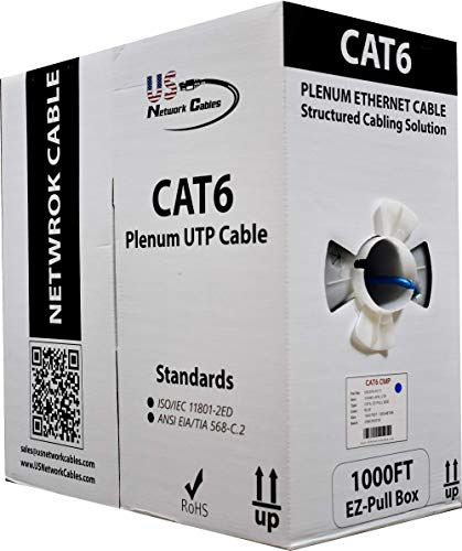 (Cat6 Plenum 1000FT 550MHz Solid Bulk UTP 23AWG Network Cable Blue, US Network Cables)