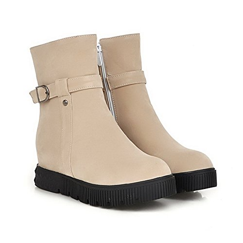 AgooLar Women's Kitten Heels Solid Round Closed Toe Frosted Zipper Boots Beige o1vtP9
