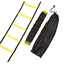 Trademark Innovations Agility Ladder-12 Rungs Training Ladder in Black and Yellow