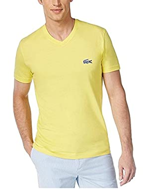 Men's V Neck Big Croc Fashion T Shirt Yellow Size 3XL (8)