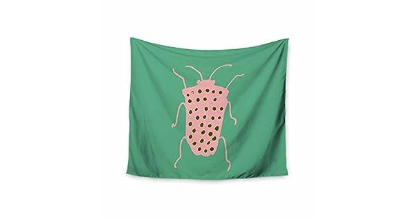 Kess InHouse bruxamagica Bug Aqua Green Pink Animals Nature Illustration Mixed Media 68 x 80 Wall Tapestry