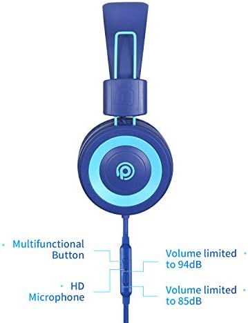 POWMEE P10 Kids Headphones With Microphone,HD Sound Headphones For Children Boys Girls,Adjustable 85dB/94dB Volume Control,Foldable On-Ear Headpone With Mic For School/PC/Cellphone(Blue)