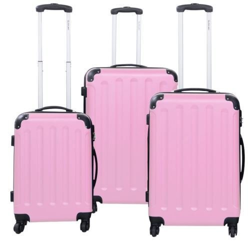 luggage hardside 3 Pcs Luggage Travel Set Bag ABS+PC Trolley Suitcase Pink luggage set