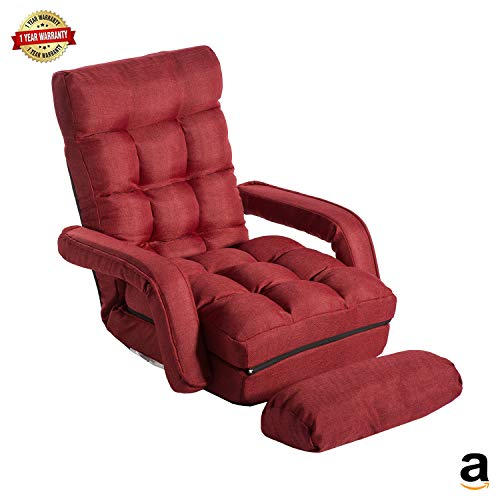 MIERES 1 Red Folding Lazy Floor Adjustable, Sofa Lounger Sleeper Bed Padded Gaming Chair with Armrests and Pillow for Living Room Games & Reading