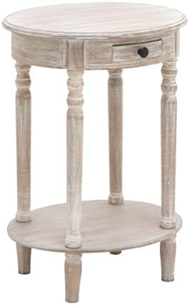 Deco 79 96290 Wood Oval Accent Table, 27 x 20 , Taupe
