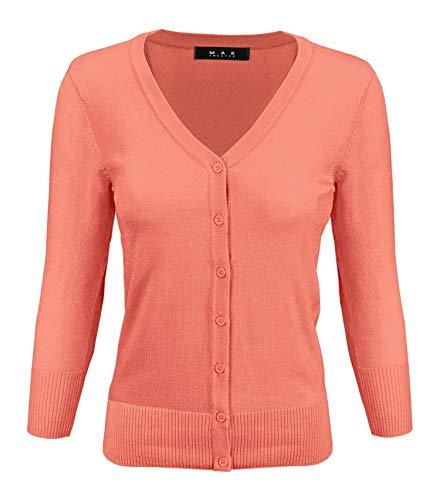 (YEMAK Women's 3/4 Sleeve V-Neck Button Down Knit Cardigan Sweater CO078-P.Nector-3X)
