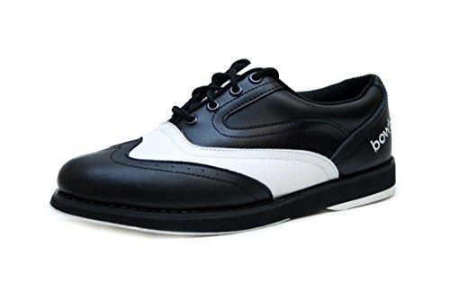 Bowlio Pro Series Strike Classic - Chaussures de bowling en cuir blanc et noir - Adulte et enfant
