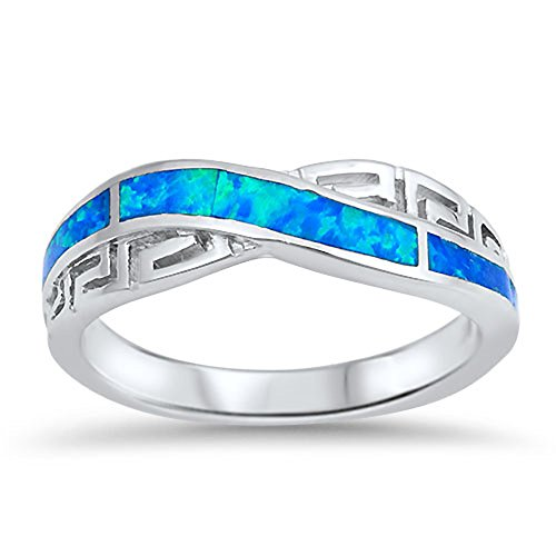 Infinity Knot Greek Key Blue Simulated Opal Ring .925 Sterling Silver Band Size 7