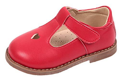 WUIWUIYU Girls' Oxfords Shoes T-Strap Casual Walking School Uniform Dress Princess Mary Jane Flats Red US Size 8 M