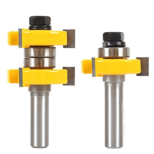 2pcs Tongue and Groove Router Bit Set 1/2'' Shank 2 Bit 1-1/2'' Stock Woodworking Cutter For Milling Tools by AccOED