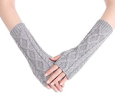 TDwear Knit Arm Warmers Thumbhole Mittens Fingerless Gloves for Women Girls,Grey