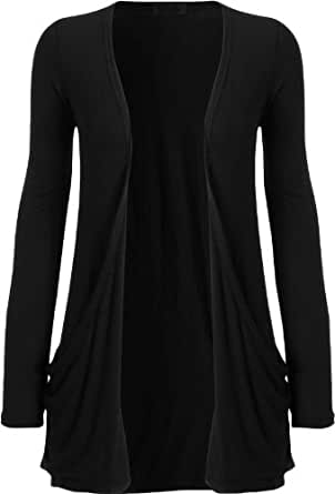 VIP Boutique Plus Size Boyfriend Pocket Cardigans (SIZE 12-14, BLACK)