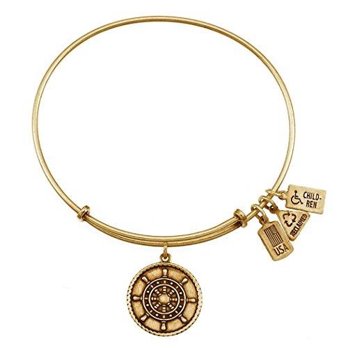 Wind & Fire Ship's Wheel Gold Finish Charm Bangle