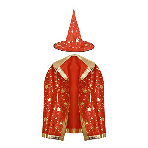 Kids Witch Wizard Cloak with Hat Halloween Cosplay Costume Cape for Boys Girls -