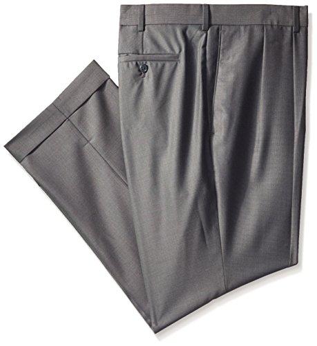 Cuff Dress Pants - Louis Raphael Men's Big-Tall Straight Fit Pleated Neat Tic Dress Pant, Charcoal, 44x32