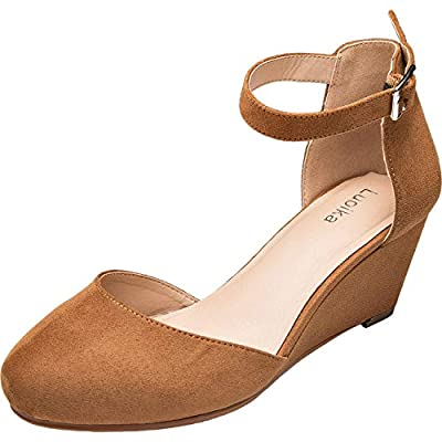 Luoika Women's Wide Width Mini Wedges - Comfortable Mid Low Heel Ankle Buckle Strap, Plus Size Round Closed Toe.(180323,Brown,size12.5)