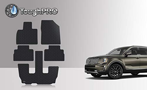 (ToughPRO Floor Mats Set + 3rd Row Compatible with Kia Telluride - All Weather - Heavy Duty - Black Rubber - 2020 )