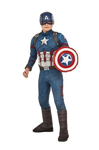 Boys Marvel Civil War Deluxe Captain American Costume w Shield Size Medium (Kids Captain America Costume With Shield)