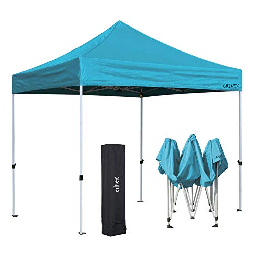 CRINEX 10x10 Lake Blue Pop Up Canopy Tent with Carry Bag, Outdoor Commercial Instant Gazebo Ez Pop Up Canopy for Commercial Sports and Camping Sun and Rain Shelters, Bonus Carrying ()