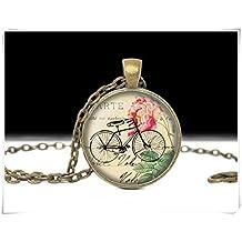 Bicycle Jewelry,art Necklace,Pendant,Charm Jewlery,Dome glass jewelry, pure handmade