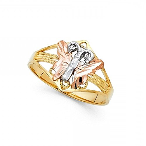 Diamond Ring Cut Butterfly (Butterfly Ring 14k Yellow White Rose Gold Band Fashion Style Tri Color Solid Fancy 12MM Size 9)