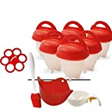 Egg cooker hard and soft silicone egg poachers, hard boiled eggs without shell egg cups AS SEEN ON TV (6 pieces) No shell plu