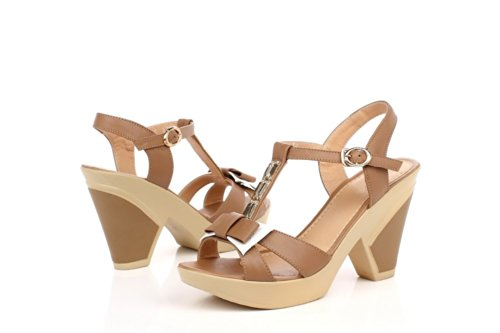 Material Heel AmoonyFashion Toe Open High Womens Microfiber Soft apricot Colors Assorted Sandals I606wx