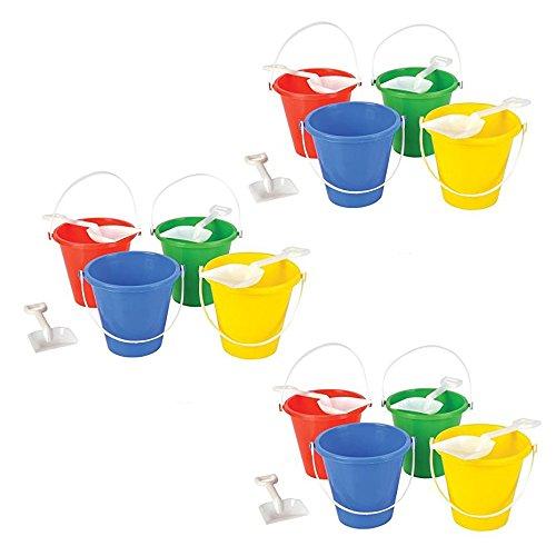 Neliblu Beach Sand Pails Shovels Pool Party Toys 5.5'' Bulk Party Set Play Sand Buckets (1 Dozen Sets)