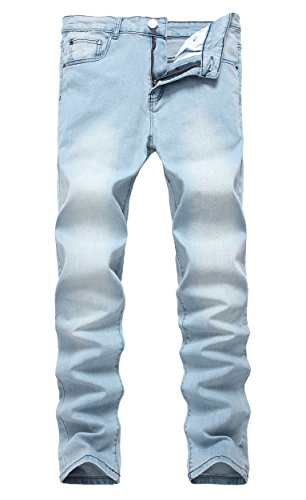 LILBETTER Men's Ripped Skinny Distressed Destroyed Slim Jeans with Holes Light Blue (Distressed Blue Wash)