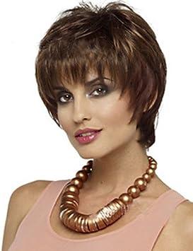 GYFQQ pelo corto Pelucas mujeres blancas negras sintéticos europeos pelucas pelucas cortas . brown