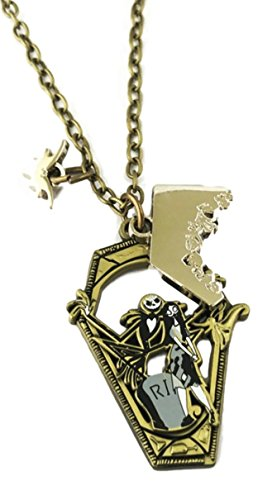 Mainstreet247 Nightmare Before Christmas Jack and Sally RIP Coffin Metal Pendant NECKLACE