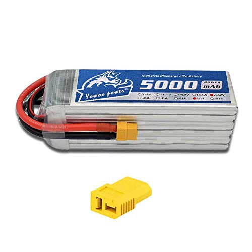YOWOO 6S Lipo Battery 5000mAh 22.2V 50C RC Batteries with XT60 / Deans Plug for Align T-REX 550 600E 700E GAUI X5 Outrage 550 Hirobo SDX Multirotors EDF Jets 600 ()